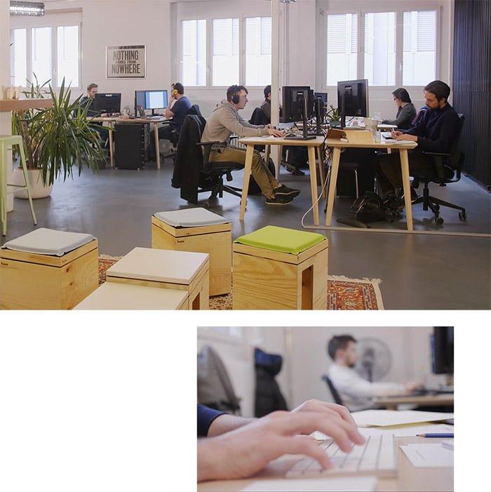 deux photos présentant des collaborateurs tipee au travail